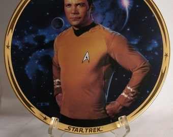 Vintage Star Trek Kirk Star Plate, 25th Anniversary Commemorative Plate, Hamilton Collection 1983, Star Trek The Original Series