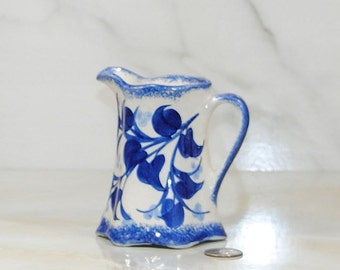 Vintage 1940's Cash Family Pottery Blue and White Floral Creamer