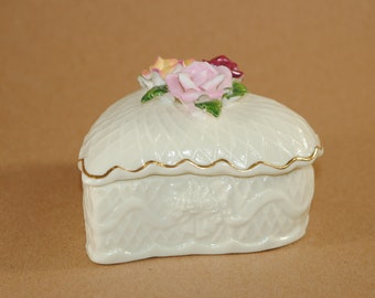 Vintage Bisque Porcelain Heart Shaped Lidded Trinket Box with Roses on Top, Cream Color