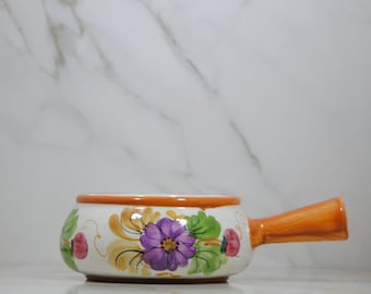 Vintage Ceramic Fondue Pot, Hand Crafted and Hand Painted in Portugal for FTD