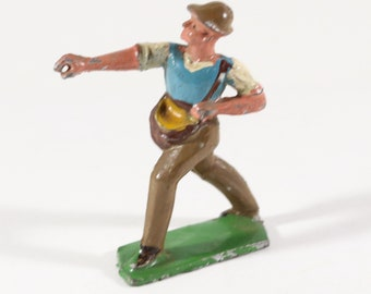 Vintage Barclay Manoil Lead Figure, Farmer Sowing Seeds, France, 1950s, Original Paint, Lead Cast Toy, Hand Painted, Vintage Toy