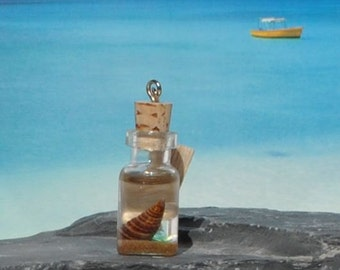 Ormond Beach Florida Sand, Sea Glass and Shell in Miniature Glass Bottle