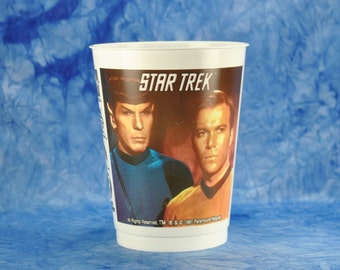 Star Trek Slurpee Cup from The Next Generation, 7 Eleven Plastic Cup 1991 featuring Kirk and Spock