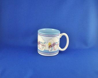 Vintage Blue Mug, White Geese with Red Flowers on Blue Water Mug, 1989 Peaches FIB, Coffe Mug, Coffee Cup, Tea Mug, Tea Cup, Goose, Water