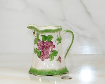 Vintage 1940's Cash Family Pottery Creamer, Green and Purple Floral