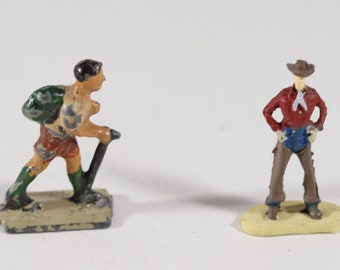 Vintage HO scale Lead Figures From The 1950s, Cowboy and Rock Climber
