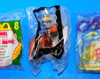 Vintage Happy Meal Toys Set of 3, McDonalds Marvel Human Torch, Burger King Teletubbies, McDonalds Brother Bear