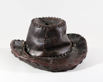 Vintage Large Cowboy Hat Coin Bank Distressed Leather Look With Stopper