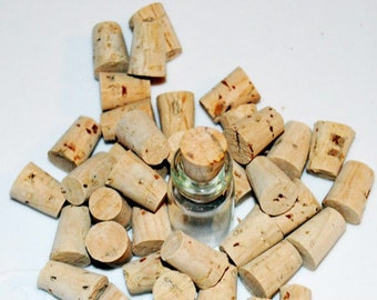 Cork Stoppers, Bag of 10 Tapered Light Colored Corks for Miniature Bottles, Natural Corks