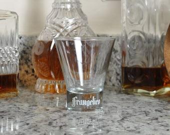 Vintage Frangelico Liqueur Glass, Weighted Bottom, White Embossed Logo, Italian Liquor, Rocks Glass, Barware, Italian Liquor Glass, Italy
