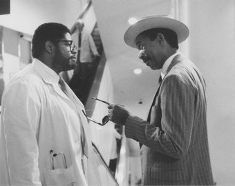 Vintage Photograph Morgan Freeman and Forest Whitaker in Johnny Handsome 1991, 8x10 Black & White Promotional Photo