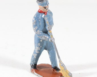 Vintage Barclay Manoil Lead Figure, Train Conductor Sweeping The Floor, 1950s