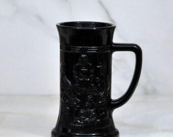 Vintage Black Beer Stein, Black Milk Glass in Tiara Pattern, Federal Glass Co.