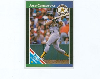 Vintage Baseball Card 1988 Jose Canseco 1, Oakland Athletics Outfield, Grand Slammers Card, Donruss, MLB, Baseball, Sports Card
