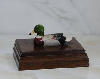 Vintage Wooden Box Double Card Deck Holder With Duck's Head, Hand Painted Albert E. Price Inc, 1981