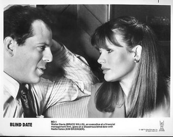 Vintage Photograph Bruce Willis and Kim Basinger in Blind Date 1987, 8x10 Black & White Promotional Photo, Movie Star Photograph
