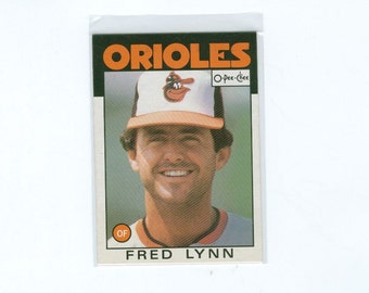 Vintage Baseball Card, 1986 Fred Lynn 55, Baltimore Orioles Outfield, O-Pee-Chee