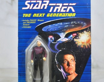 Vintage Star Trek Action Figure 4 inch Commander William Riker 1988, Next Generation, Galoob Figure