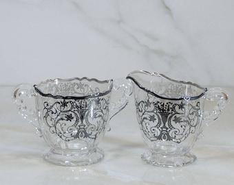 Vintage Silver Overlay Crystal Sugar and Creamer Set by Cambridge