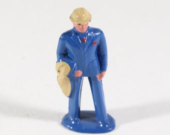 Vintage Barclay Mini Lead Figure, Man Carrying Suit on a train, 1950s