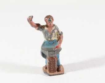Vintage Britain's Lead Figure, Blacksmith and Anvil, England, 1950s, Original Paint, Lead Cast Toy, Hand Painted, Vintage Toy