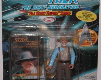 Vintage Star Trek Action Figure Picard, Retired Starfleet Captain 6950 6974 1994 Next Generation, Playmates Figure