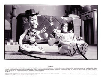 Vintage Disney Toy Story 2 1995 Buzz & Woody Promo Photographs 2 Photos Animated Feature 8x10 Black and White Photographs