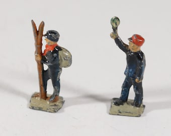 Vintage HO scale Lead Figures From The 1950s, Skier, Train Conductor