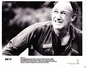 Vintage Photograph Gene Hackman in BAT 21 1988, 8x10 Black & White Promotional Photo
