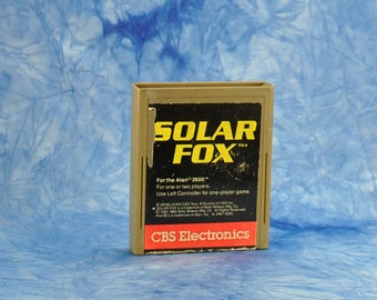 Vintage Atari 2600 Game, Solar Fox, CBS Electronics, 1984, Video Game, Galaxy, Solar, Energy Cells, Sentinels, Starship, Fireballs