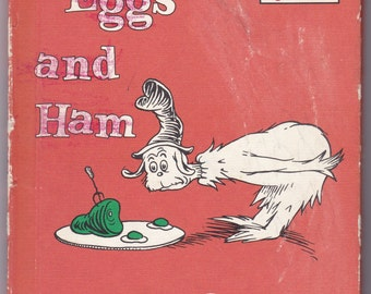Vintage Green Eggs and Ham Dr Seuss, Hardcover, First Edition, Renewed Copyright, 1988, Beginner Books, Children, Learning, Reading