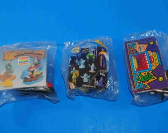 Vintage Burger King Happy Meal Toys Set of 3, Disneys Goofy and Max, Disneys Hunchback of Notre Dame, Dragon Wind Up