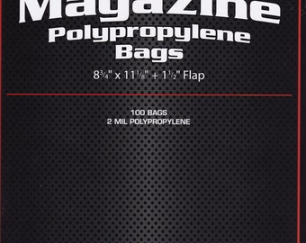 "100 Magazine Bags - 8 3/4"" x 11 1/8"" x 1 1/2"" Flap - Polypropylene Bags - 2ml - Storage - Books - Artwork - T-Shirts - Photographs - Movies"