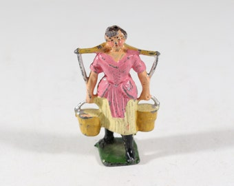 Vintage Barclay Manoil Lead Figure, Woman Carrying Water Pales, 1950s France