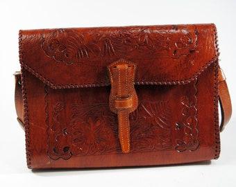 Vintage Handmade Brown Tooled Leather Purse Shoulder Bag With Leather Fastner, 1970s