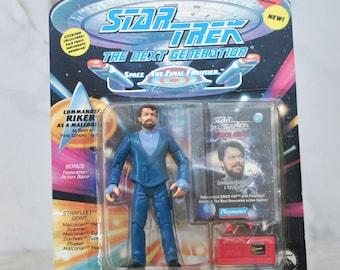 Vintage Star Trek Action Figure Commander Riker As Malcorian 6070 6034 1994 Next Generation, Playmates