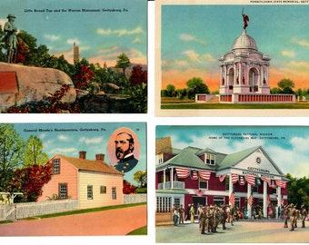Vintage PostCard Bundle 4 Unused Cards Gettysburg PA 1940s, Pennsylvania State Memorial, Little Round Top, Warren Monument