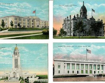 Vintage Postcards, 4 Cards, Mitchell South Dakota Landmarks 1940s