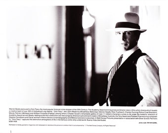 Vintage Photograph Warren Beatty in Dick Tracy 1990, 8x10 Black & White Promotional Photo