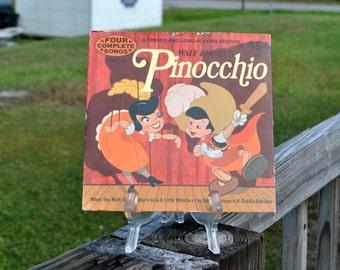 Vintage Walt Disney's, Pinocchio, Disneyland, Long-Playing, Record, 1973, 33 1/3 rpm, Walt Disney, Productions, Vintage Disney, Music