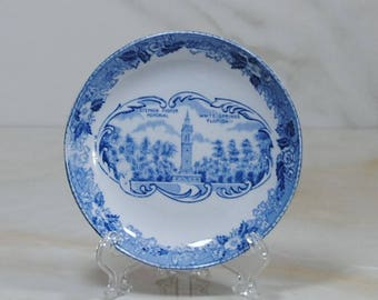 Vintage Alfred Meakin Blue Transferware Miniature Souvenir Plate, Stephen Foster Memorial, White Springs Florida, Meakin Staffordshireware