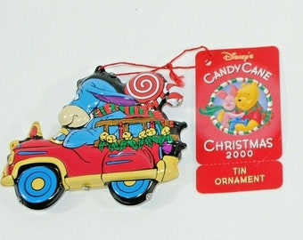 Vintage Ornament Disney's Candy Cane Christmas 2000 Tin Ornament Eeyore Metal Ornament