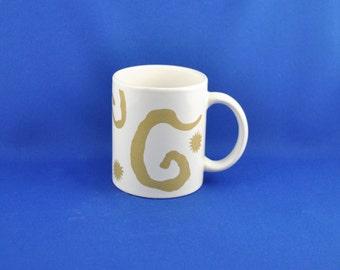 Vintage Oscar de la Renta Holiday Gold Christmas 10oz Mugs - Dominican - American - Fashion - Designed - Coffee - Cup - Holiday - Xmas