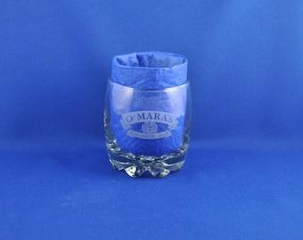 Vintage O'Mara's Irish Country Cream Lowball Glass, Whiskey Glass, Barware, Wine, Irish Cream Liquor, Cocktail Glass, Ireland
