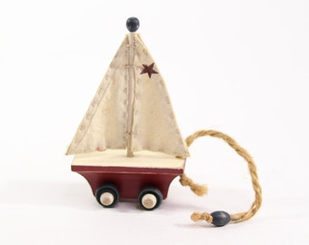"Vintage Sail Boat Handmade Miniature Wooden Toy 3"" long"