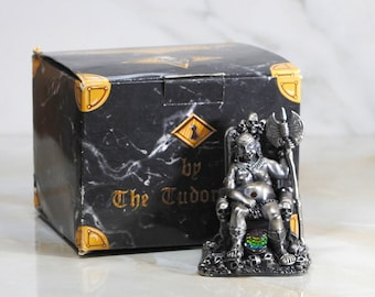 Vintage Fantasy Figurine, Myth and Magic Pewter Statue from Tudor Mint, The Guardian of the Skulls