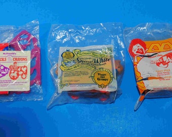 Vintage McDonalds Happy Meal Toys Set of 3, Stencils and Crayons, Disney Happy & Grumpy, Space Jam, McDonalds Toys,  Vintage Disney
