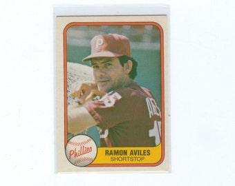 Vintage Baseball Card, 1981 Ramon Aviles 23, Philadelphia Phillies Shortstop, FLEER