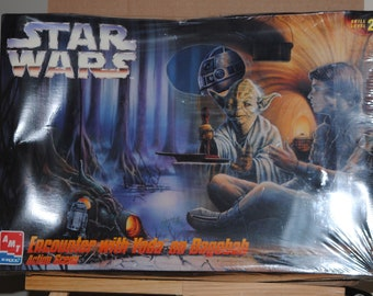 Vintage Star Wars Model Encounter With Yoda on Dagobah Action Scene, AMT-Ertl, 1995, Authentic Scale Model