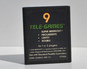 Vintage Atari 2600 Super Breakout Game From 1978  Atari - Game System - Retro - Sears Telegames - Bouncing Ball - Bricks - Tetris -